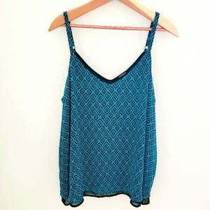 Torrid Teal and Black Graphic Flowy Tank